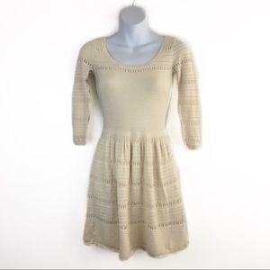 American Eagle Cream Cotton Knit Mini Dress